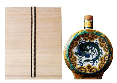 サントリーウイスキー 響21年 九谷焼 吉田屋風色絵雲龍文扁壺形瓶