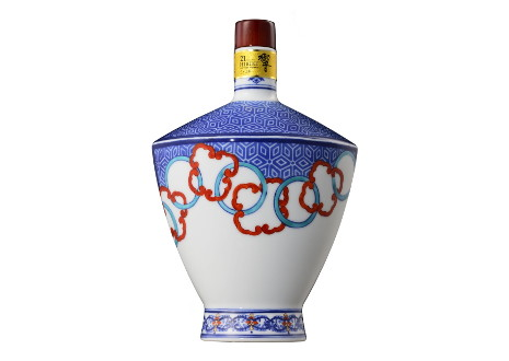 サントリーウイスキー 響21年 有田焼 色絵輪繋文風鐔形瓶