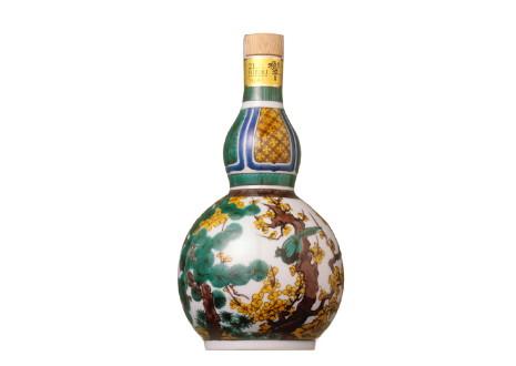 サントリーウイスキー 響21年 九谷焼 古九谷風松竹梅文瓢箪型瓶
