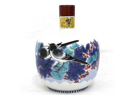 サントリーウイスキー 響21年 有田焼 色絵鶺鴒文丸瓶 2003