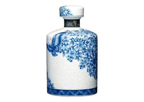 サントリーウイスキー響35年 初期有田 染付牡丹蝶図筒形瓶