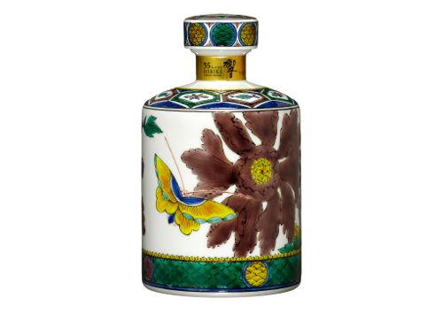 サントリーウイスキー響35年 古九谷写し 色絵牡丹蝶図筒形瓶 九谷焼