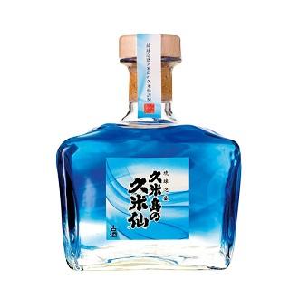 琉球泡盛 久米島の久米仙 びーどろガラス青 25度