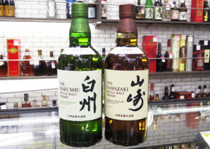 大阪府守口市のお客様からサントリーウイスキー山崎・白州(ノンエイジ)をまとめて店頭買取させていただきました。
